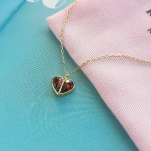 red rock solid stone heart mini pendant necklace